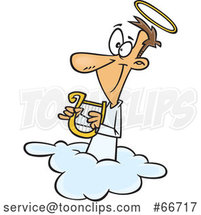 Cartoon White Angel Holding a Lyre on a Cloud by Toonaday