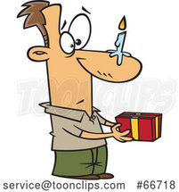 Cartoon White Guy Holding a Gift, with a Birthday Candle on His Nose by Toonaday