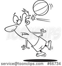 Cartoon Outline Guy Being Knocked out by a Beach Ball by Toonaday