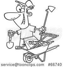 Cartoon Outline Guy with His Garden Tools and Fertilizer by Toonaday