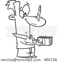 Cartoon Outline Guy Holding a Gift, with a Birthday Candle on His Nose by Toonaday