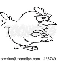Cartoon Outline Brooding Hen Holding Her Eggs by Toonaday