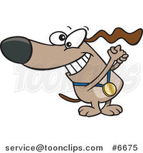 Cartoon Champion Dog with a Medal by Ron Leishman