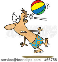 Cartoon White Guy Being Knocked out by a Beach Ball by Toonaday