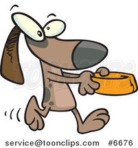 Cartoon Dog Carrying a Dish by Ron Leishman