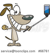 Cartoon Dog Taking a Selfie with a Stick by Toonaday