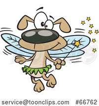 Cartoon Fairy Dog Holding a Wand by Toonaday