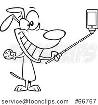 Cartoon Outline Dog Taking a Selfie with a Stick by Toonaday