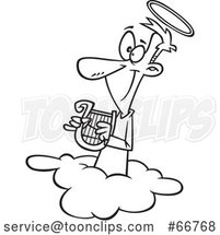 Cartoon Outline Angel Holding a Lyre on a Cloud by Toonaday