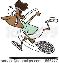 Cartoon Black Female Tennis Player Swinging Her Racket by Toonaday