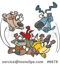 Cartoon Dogs Jumping in a Pile by Ron Leishman