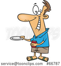 Cartoon Happy Guy Holding out a Plate for a Burger by Toonaday