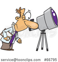Cartoon Astronomer Viewing Through a Telescope by Toonaday