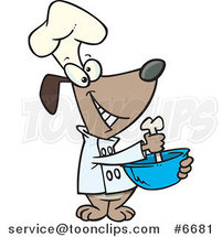 Cartoon Chef Dog Mixing with a Bone by Ron Leishman