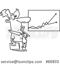 Cartoon Black and White Economist Businessman Viewing a Growth and Decline Chart by Toonaday