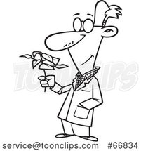 Cartoon Black and White Biologist Holding a Plant by Toonaday