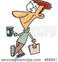 Cartoon Guy Holding a to Go Coffee on Casual Friday by Toonaday