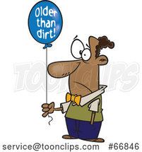 Cartoon Black Guy Holding an Older Than Dirt Birthday Balloon by Toonaday