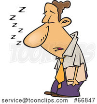 Cartoon Sleep Deprived Businessman Sleeping Standing up by Toonaday