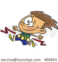 Cartoon Competitive Athletic White Boy Wearing Medals and Running by Toonaday