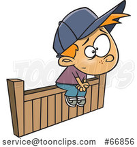 Cartoon White Boy Sitting on the Fence by Toonaday