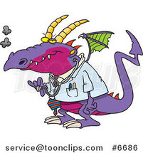 Cartoon Doctor Dragon by Toonaday