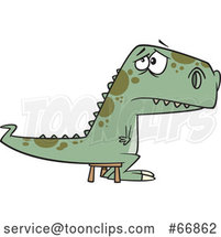 Cartoon Bad Dinosaur Sitting on a Time out Stool by Toonaday