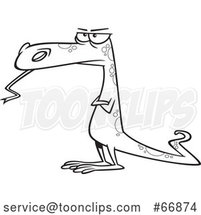 Cartoon Outline Skeptical Dinosaur or Lizard by Toonaday