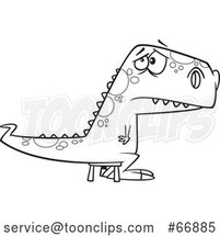 Cartoon Outline Bad Dinosaur Sitting on a Time out Stool by Toonaday