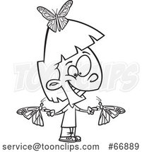 Cartoon Outline Girl with Butterflies by Toonaday