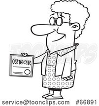 Cartoon Outline Proud Senior Lady Holding a Certificate by Toonaday