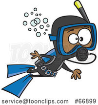 Cartoon Black Boy Scuba Diving by Toonaday