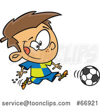 Cartoon White Boy Playing Soccer by Toonaday