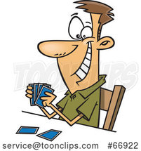 Cartoon Grinning White Guy Holding a Good Hand of Playing Cards by Toonaday