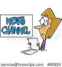 Cartoon White Female News Reporter at Work by Toonaday