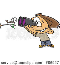 Cartoon White Boy Viewing a Bird up Close with Binoculars by Toonaday