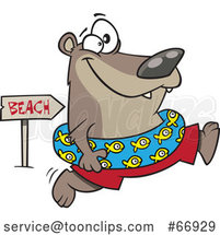 Cartoon Summer Bear Wearing an Inner Tube and Running to the Beach by Toonaday