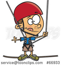 Cartoon White Boy Taking a Ropes Course by Toonaday
