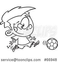 Cartoon Outline Boy Playing Soccer by Toonaday