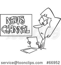 Cartoon Outline Female News Reporter at Work by Toonaday