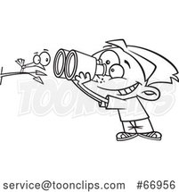 Cartoon Outline Boy Viewing a Bird up Close with Binoculars by Toonaday