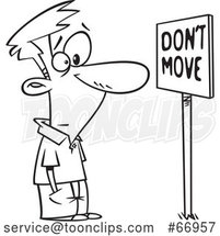 Cartoon Outline Guy Staring at a Dont Move Sign by Toonaday
