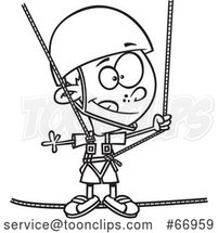 Cartoon Outline Boy Taking a Ropes Course by Toonaday