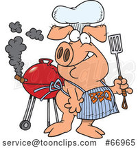Cartoon Pig Wearing a Bbq Apron by Toonaday