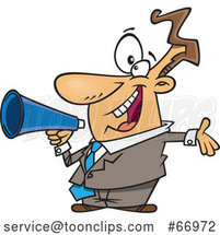 Cartoon Enthusiastic White Businessman Marketing with a Megaphone by Toonaday