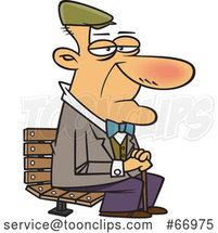 Cartoon White Senior Guy Sitting on a Park Bench by Toonaday