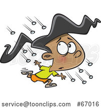 Cartoon Girl Running in a Hail Storm by Toonaday
