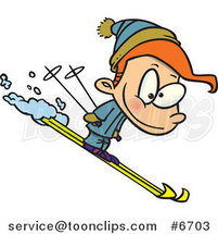Cartoon Boy Skiing by Ron Leishman