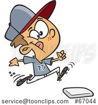 Cartoon White Boy Running to a Baseball Base by Toonaday