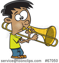 Cartoon Boy Playing a Trombone by Toonaday